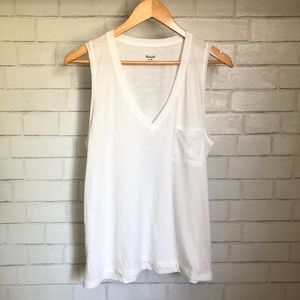 NWT Madewell Cotton V-Neck Pocket Tank- White